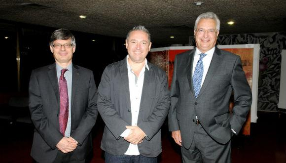 TAU VP Raanan Rein, artist Pedro Trueba and Mexican Ambassador Benito Andion