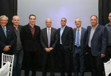 TAU Senior Resource Executive for Latin America and Spain Herman Richter; Dror Shaked; Shaul Olmert; TAU President Joseph Klafter; Dr. Tal Dvir; Prof. David Mendlovic; Prof. Dan Peer; and Oren Simanian