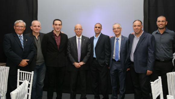 TAU Senior Resource Executive for Latin America and Spain Herman Richter; Dror Shaked; Shaul Olmert; TAU President Joseph Klafter; Dr. Tal Dvir; Prof. David Mendlovic; Prof. Dan Peer; and Oren Simanian